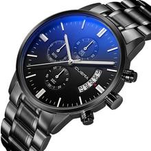 Chronograph Men's Watch Male Quartz Clock Military Relojes Luxury Business Watch Luminous Stainless Steel Band Calendar Watch