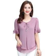 Милая футболка, женские футболки с коротким рукавом, плюс размер, топ, розовый шифон, женские офисные рубашки, 4XL, бохо, летняя одежда, двухслойная