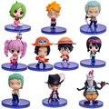 10 pçs/set Brinquedos Q Versão One Piece Action Figure Luffy Zoro Nami Modelo Mini Com Caixa de Cor Frete Grátis