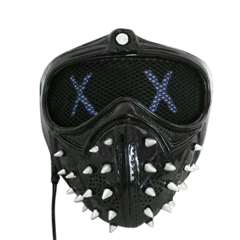 US $51 27 10% OFF Game Watch Dogs 2 Mask Marcus LED Light Mask Emoji  Changeable Holloway Wrench Cosplay Punk Gothic Rivet Face Mask Halloween-in