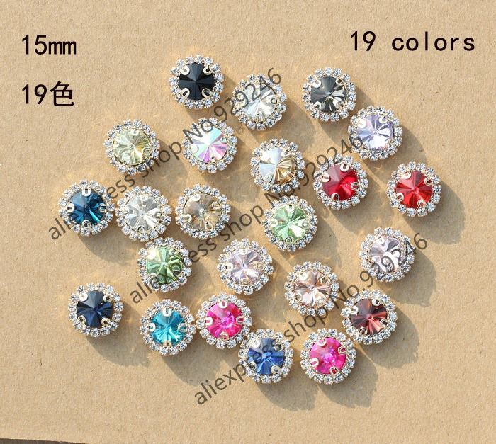 30pcs pack 15mm round sunflower mixed colors crystal applique sew-on glass  claw rhinestone DIY garment clothing bags decoration e7e1e7a62ab0