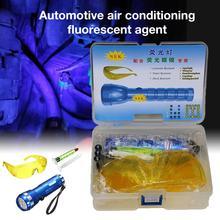 Samochód R134A R12 klimatyzacja A C System detektor wycieku zestaw 28 LED latarka ochronna UV barwnik zestaw narzędzi naprawa samochodów tanie tanio CN (pochodzenie) R134a Refrigerant Leak Test Detector Klimatyzacja montaż 0 26kg Air Conditioning Repair Tool Fluorescent Leak Detection Tool