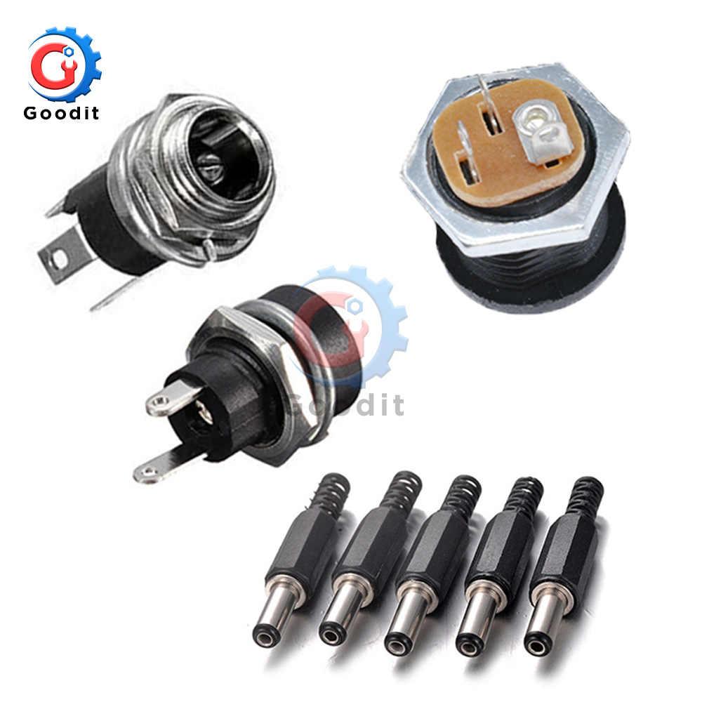 10 piezas conector de alimentación CC pin 2,1mm x 5,5 hembra Jack + macho enchufe Jack adaptador PCB montaje DIY adaptador conector 2,1X5,5