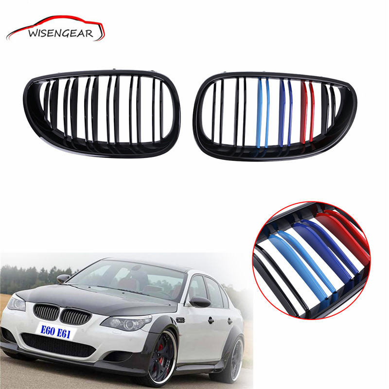 1pair Gloss Black M-color Front Kidney Grilles Double line Grill For BMW E60 E61 5 Series M5 2003 - 2010 C/5 2016 new a pair front grilles left and right double line grille gloss black front grills for bmw 3 series e46 2002 2004 4 door