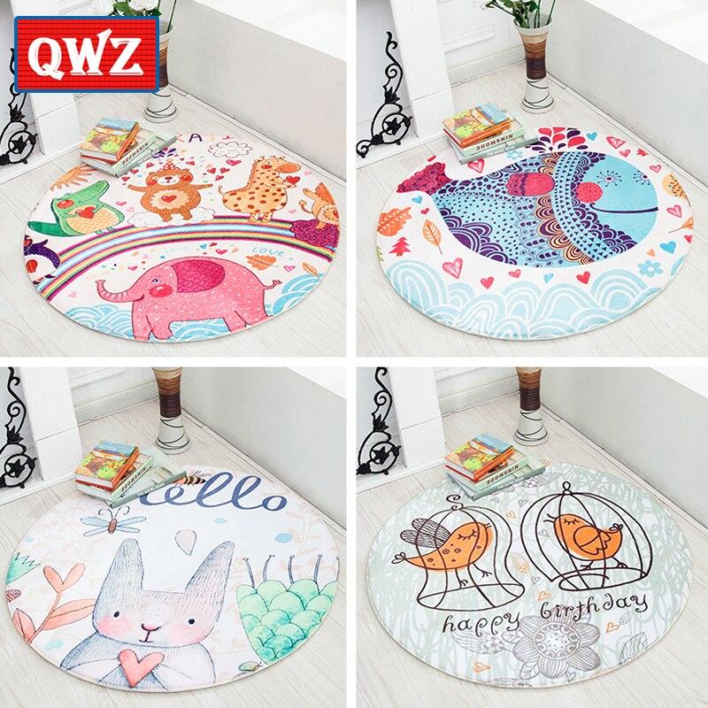 QWZ Round Cartoon Animal Baby Play Mat Newborns Soft Nap Mat Sleeping Bedding Playing Crawl Carpet Rugs Kids Toys Children Gifts