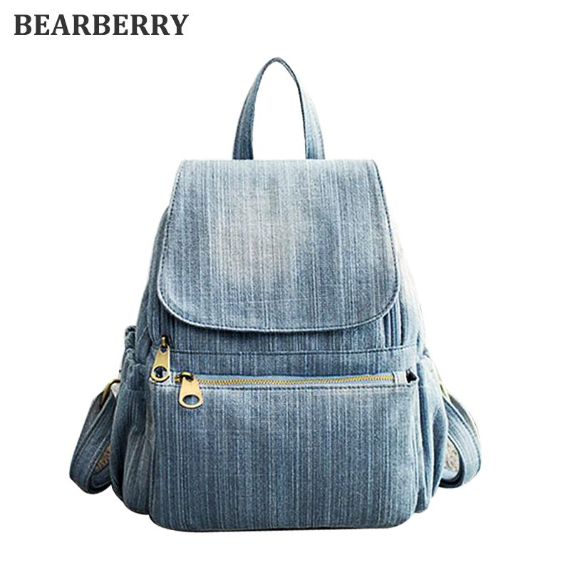 BEARBERRY 2017 high quality Vintage Washed Denim Backpack Multifunctional Travel Bag for girls school bags 6 styes Mochila Bolsa