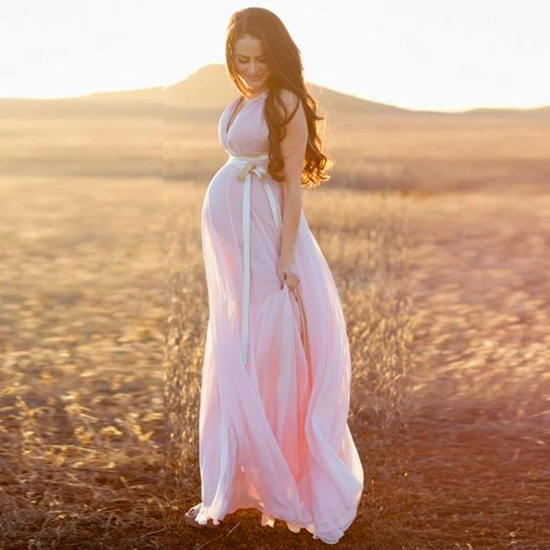 Buy elegant formal light pink long for 5 months pregnant wedding dress