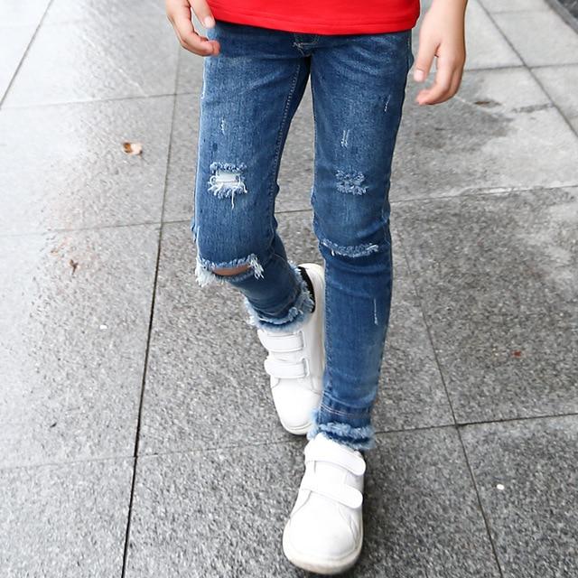 d chir jeans pour filles 2018 automne trou denim enfants long pantalon enfants v tements. Black Bedroom Furniture Sets. Home Design Ideas