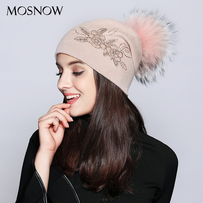 MOSNOW Winter Hat Female Wool Vogue Lace Flower Rhinestone Fashion Autumn 2018 Knitted Women'S Hats   Skullies     Beanies   #MZ712B