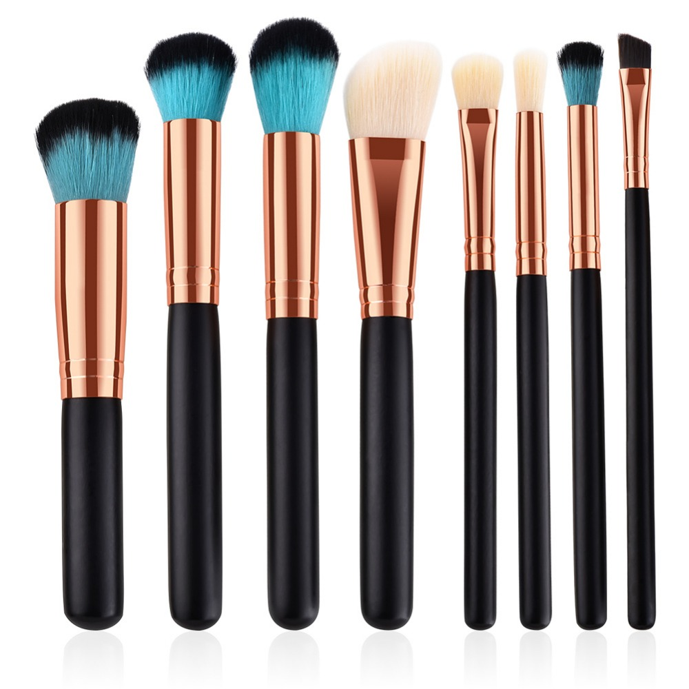 8Pcs Black Rose Gold Makeup Brushes Blending Cosmetics Kabuki Brush Make Up Tools Foundation Eyebrow Eyeshadow Brush Set