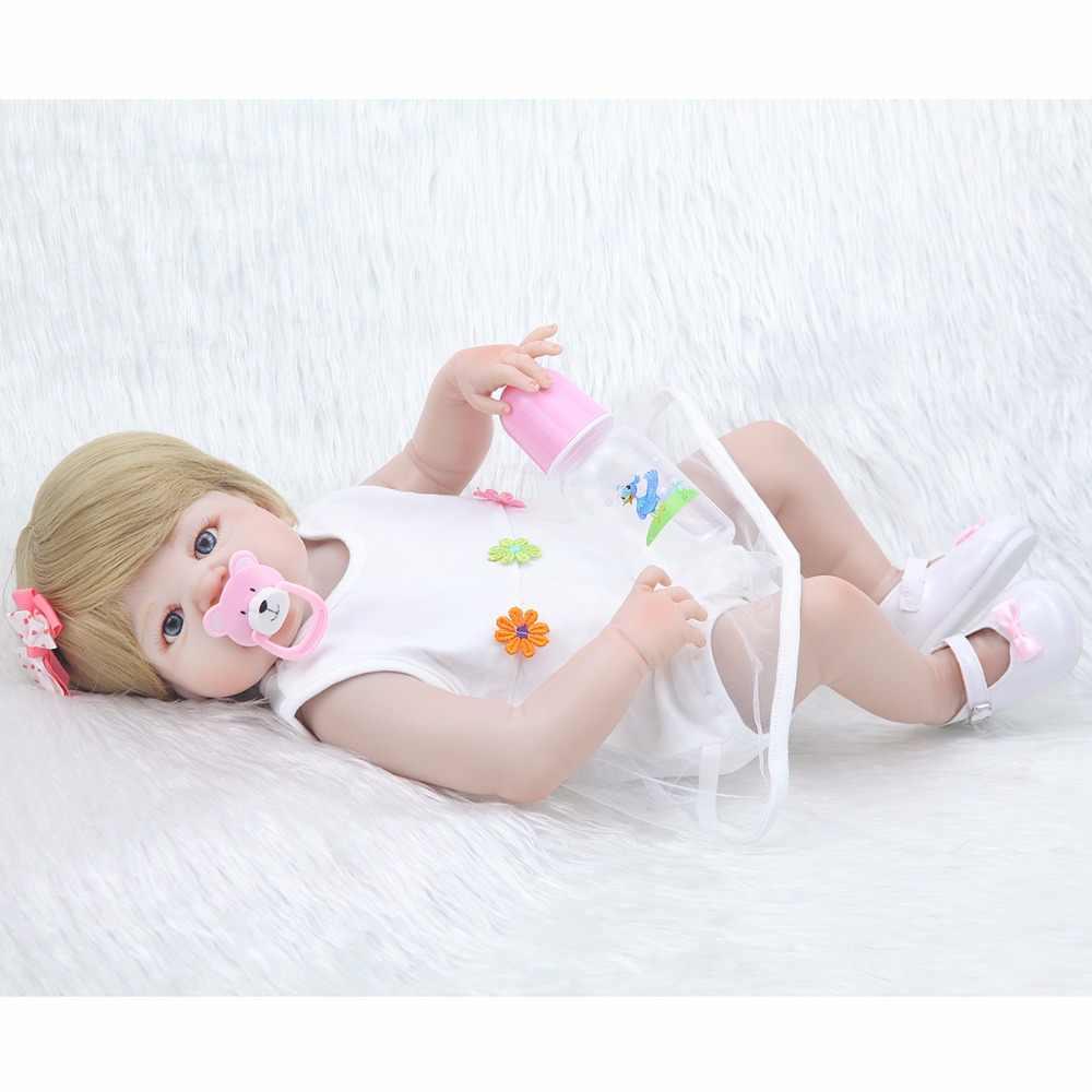 Newcollection 22 дюймов мягкий полный Силиконовый Reborn Baby Doll девушка игрушки реалистичные детские куклы винил Мода куклы Bebe Reborn девушка кукла