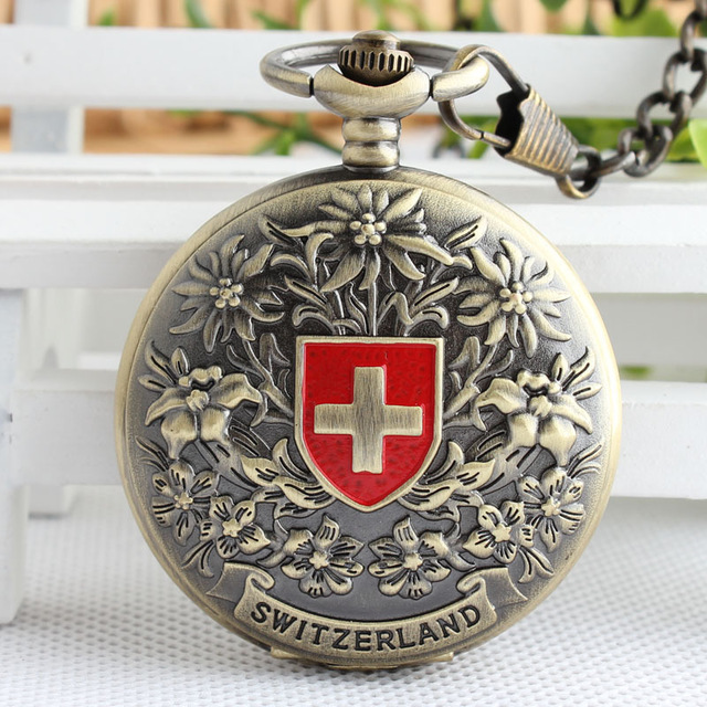 Unique Switzerland Red Cross Hollow Hand Wind Mechanical Pocket Watch Men's And Women Bronze Tone For Birthday Gift