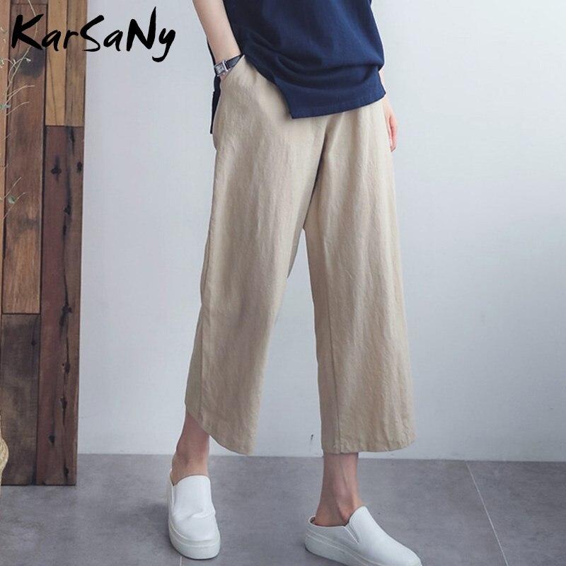 KarSaNy Summer Linen Wide Leg   Pants   Women   Capri   White Summer Office   Pants   High Waist Cotton Trousers Women Linen Trousers Ladies