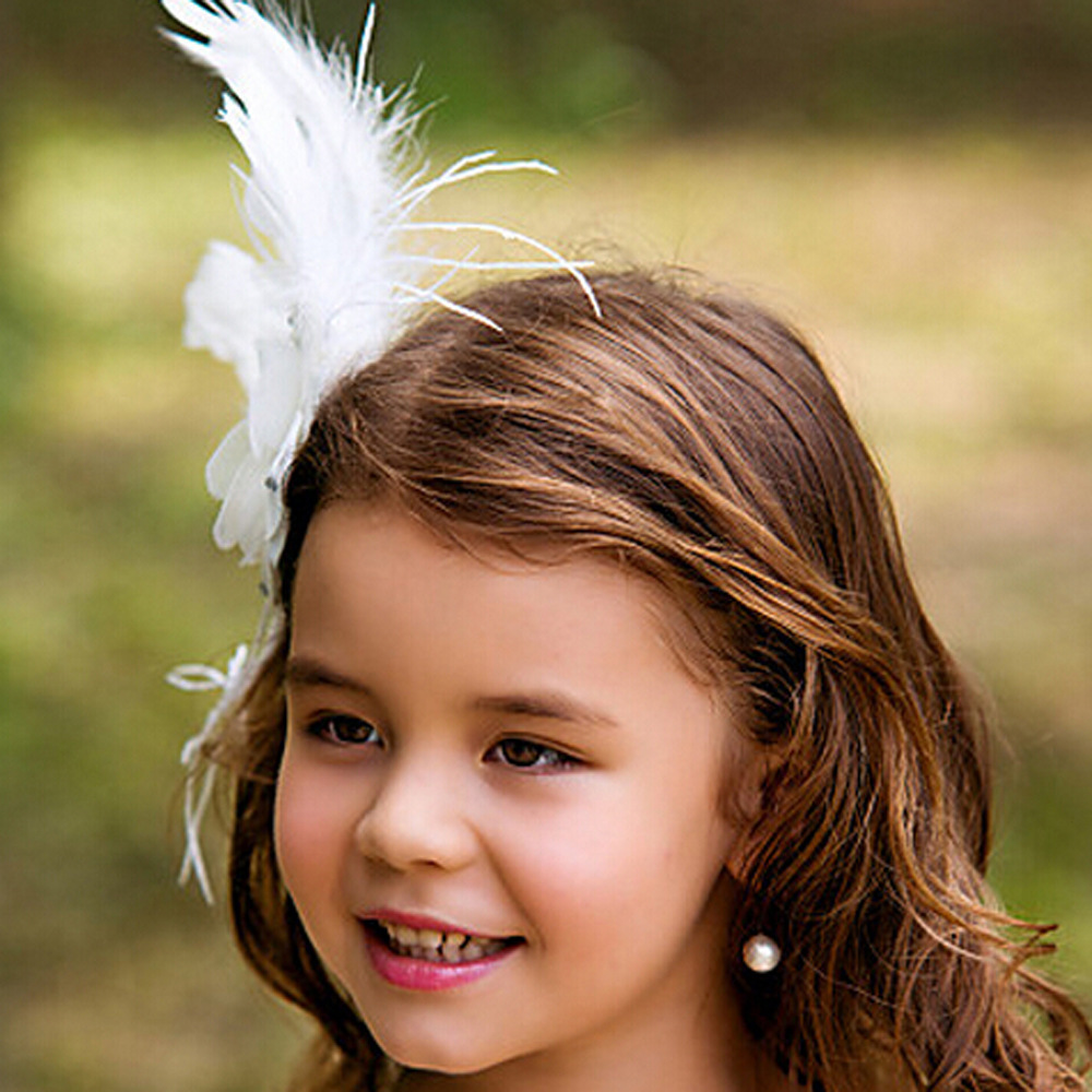 New Girls Hair Accessories White Princess Flowers With Rhinestone Feather Hairband Children Wedding Bridesmaid Child Bands In From