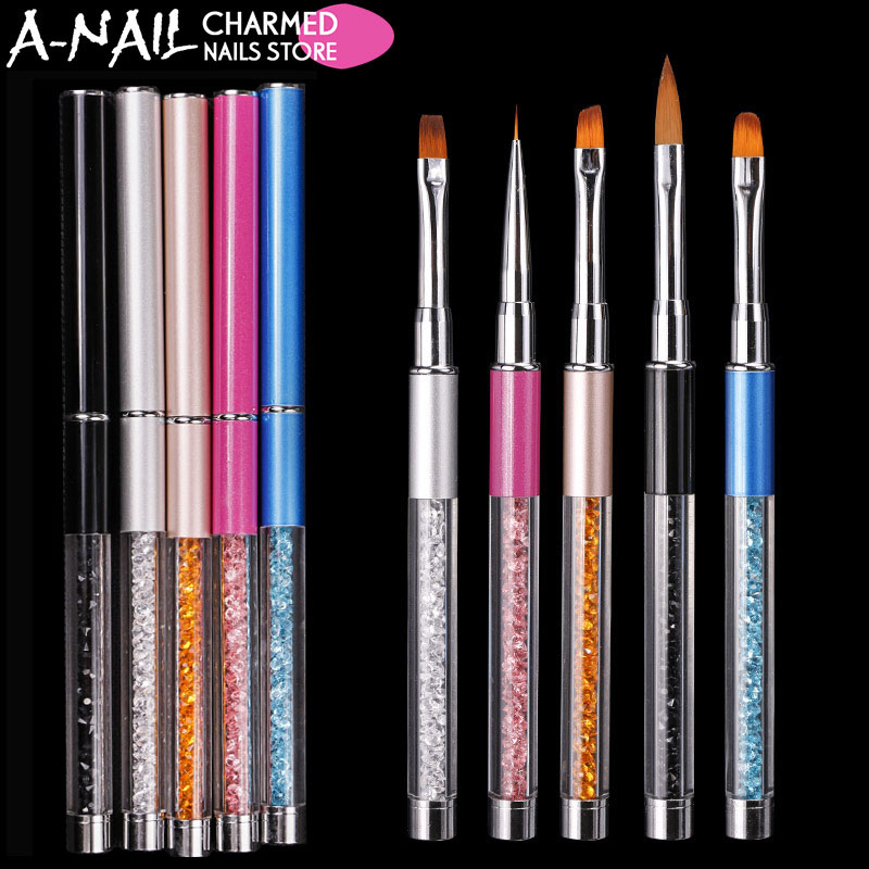 NEBY 1pc Nail Art Brush Pen Rhinestone Diamond Metal Acrylic Handle Carving Powder Gel Liquid Salon Liner Nail Brush With Cap