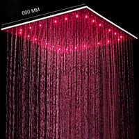 Nowy styl 24 Cal Overhead opady deszczu Duchas LED głowica prysznicowa szczotkowanego duży deszcz Panel regulacja temperatury wody Led zmiana koloru