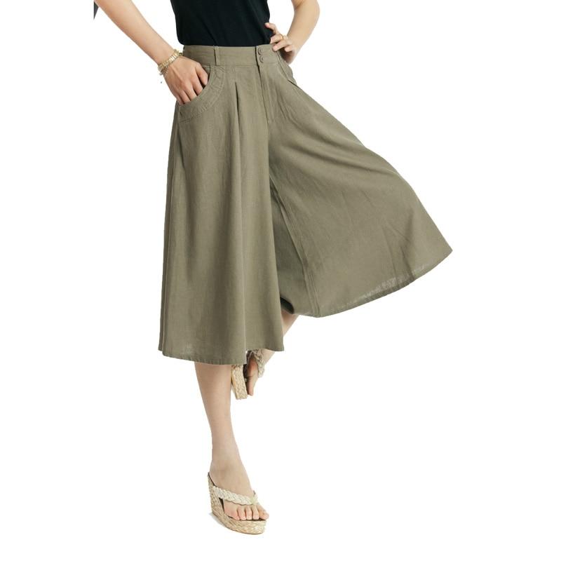 Online Shop Free shipping Linen women's capris culottes fluid ...