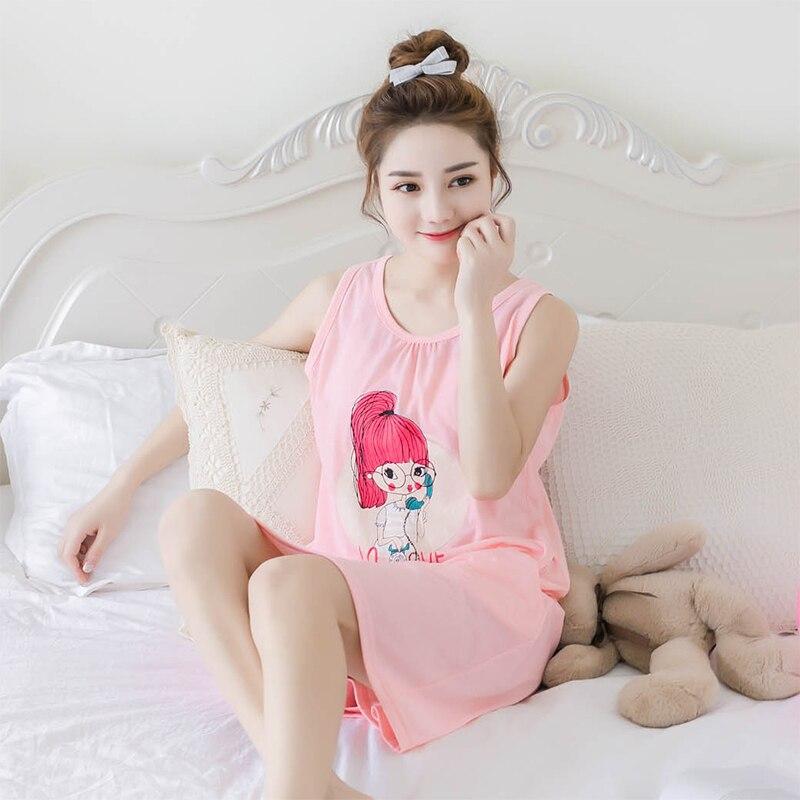 New Summer 100%Cotton Cute Cartoon Vest Women   Nightgowns     Sleepshirts   Round Neck Loose Plus Size M-5XL Female Nightdress