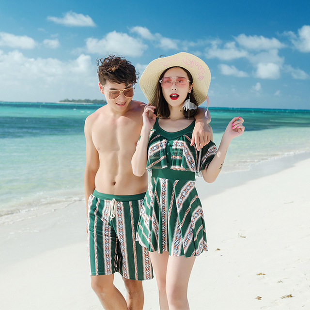 a413a367b6 Couples swimwear women sexy one piece dress swimsuit green striped men beach  shorts trunks lover's beach