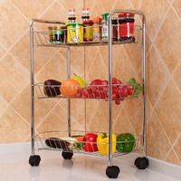 High Grade Stainless Steel Storage Rack Bathroom Storage Holders Kitchen Organizer Storage Rack With Universal Wheel