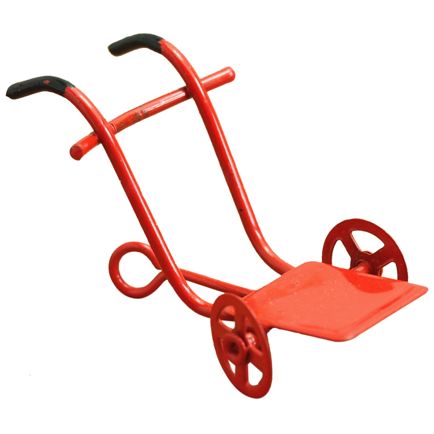 HOT SALE Dollhouse Miniature Garden Toy Small Metal Red Cart Length 5.2cm