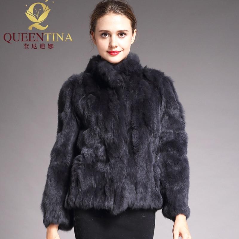 2018 abrigo de piel auténtica de alta calidad a la moda abrigo de piel de conejo genuino elegante para mujer abrigo de invierno cuello de pie chaqueta de piel de conejo