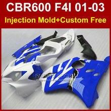 100% FIT motorcycle fairing parts for HONDA CBR600 F4I 01 02 03 CBR 600F4i 01 02 03 blue fairings kit cbr 600 f4i 2001 2002 2003