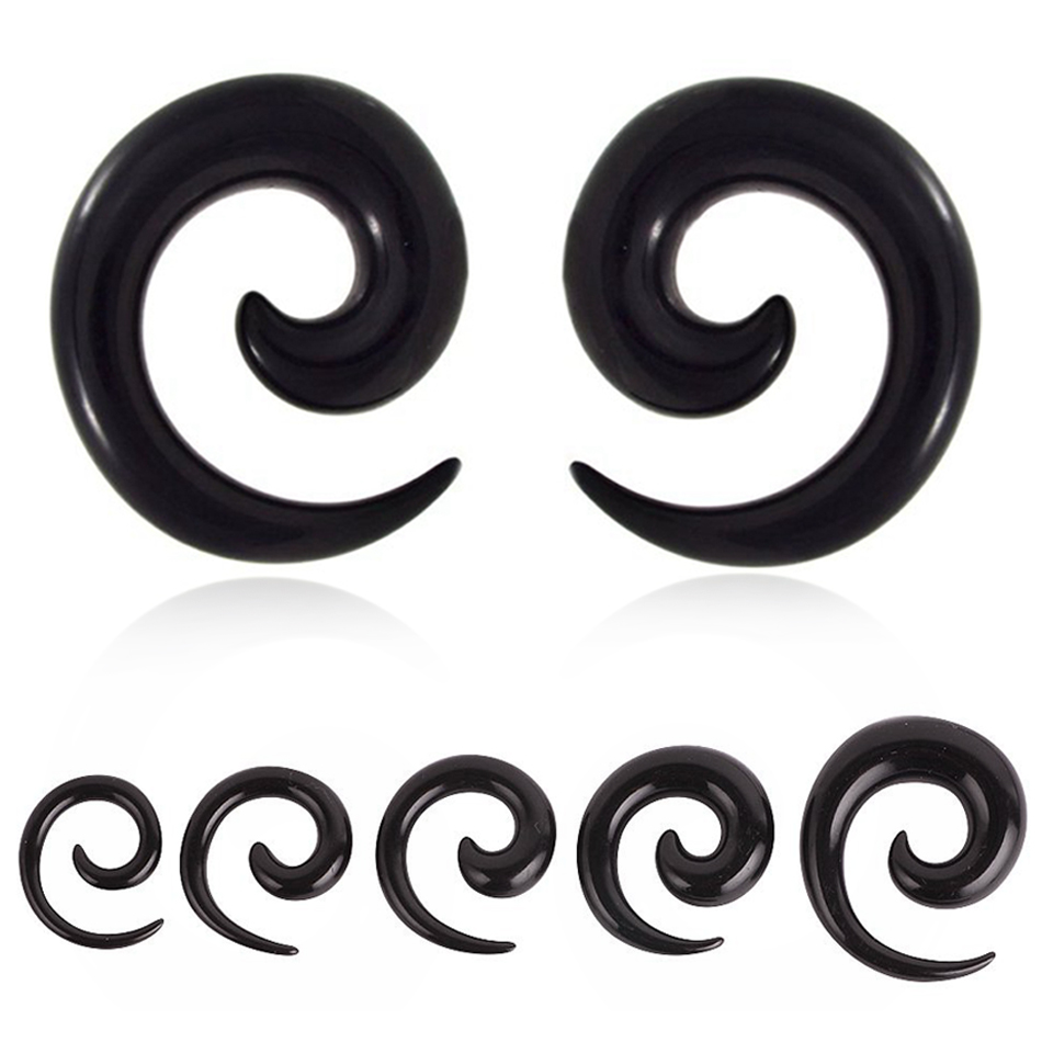 2PCS Acrylic Ear Spiral Plugs Earring Gauges Punk Acrylic Taper Expander Plug Tunnel Piercings Stretcher Kits Body JewelryRing