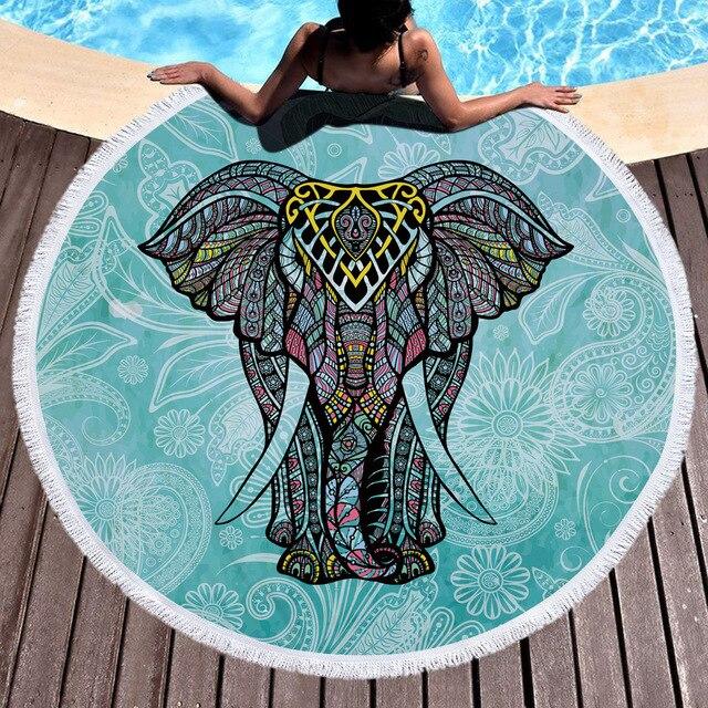 150 cm Bohemian Indian Mandala Pantai Melempar Besar Putaran Gajah Handuk Pantai Piknik Selimut Tikar Kolam Dekorasi Permadani Yoga Tikar
