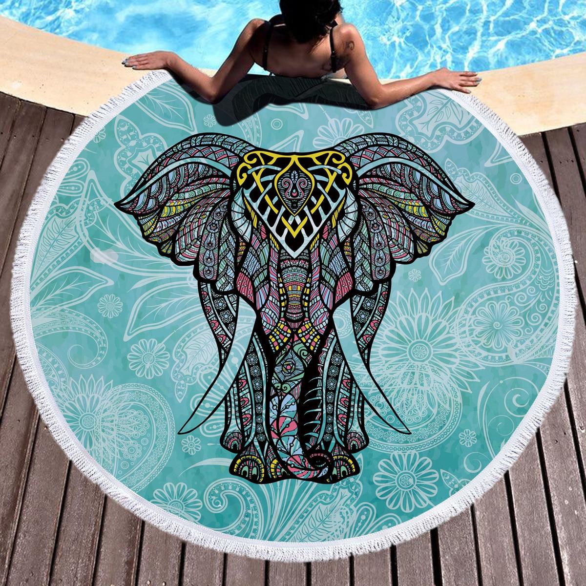 150cm <font><b>Bohemian</b></font> <font><b>Indian</b></font> Mandala Beach Throw Large Round Elephant Beach Towel Picnic Blanket Mat Pool <font><b>Tapestry</b></font> Decoration Yoga Mat
