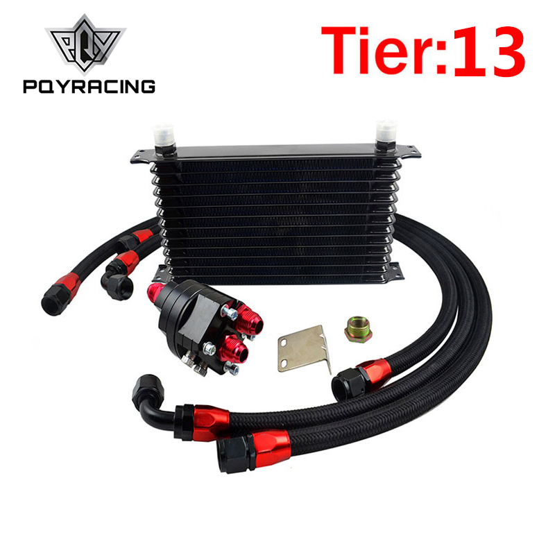 цена на PQY - Universal 13 Row OIL COOLER 10AN Aluminum Engine Transmission Oil Cooler Relocation Kit Oil Cooler Kit