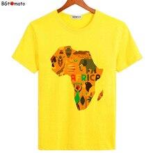 Bgالطماطم جديد وصول خريطة أفريقيا الإبداعية تي شيرت للرجال العلامة التجارية نوعية جيدة مريحة بلايز الصيف قمصان باردة