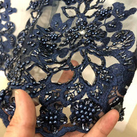 Hand Cut embroidery tulle lace French Net Lace Fabric handmade beading crystal pearl wedding dress lace fabric 15 Yards RG463