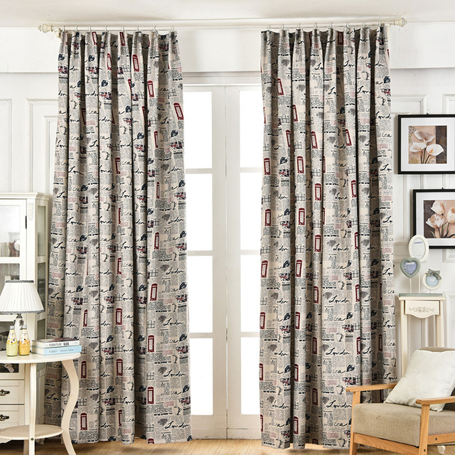 American Style Retro Blackout Curtains Window Curtain Living Room Mesmerizing Patterned Blackout Curtains