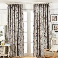 Amerykański styl retro blackout zasłony okienne zasłony living room drukowane sypialnia wzorzyste woal curtain home decoration