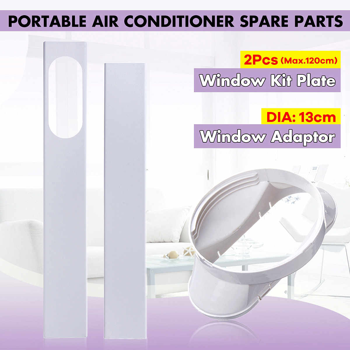 2Pcs Adjustable Window Slide Kit Plate Vent Adapter For Portable Air Conditioner