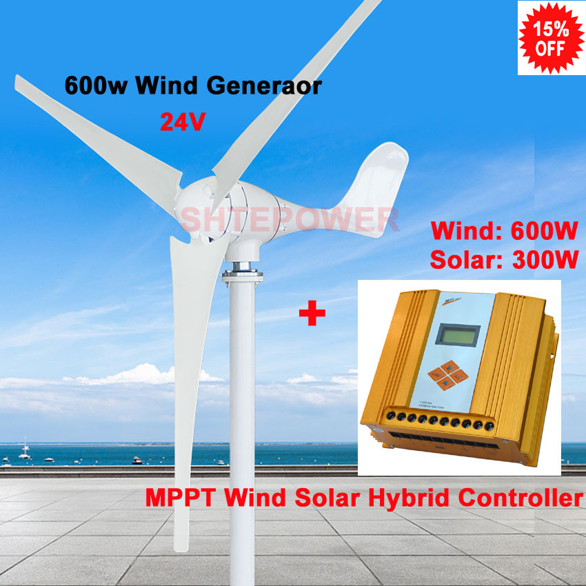 Wind&Solar hybrid mppt 200-600w controller+600w 3 blades 5 blades 600w Wind turbine generator windmill 3 phase ac 24v wind and solar hybrid controller 600w with lcd display charge controller for 600w wind turbine and 300w solar panel 12v 24v