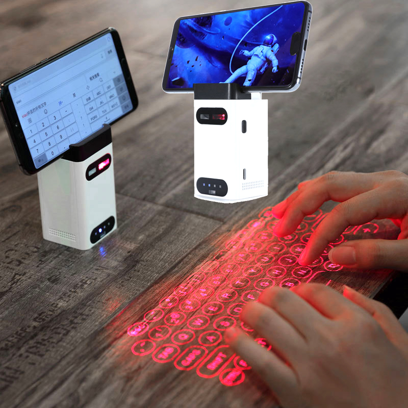 desktop phone holder Bluetooth connection wireless laser projection keyboard power bank for iphone huawei Apple, Android windowsdesktop phone holder Bluetooth connection wireless laser projection keyboard power bank for iphone huawei Apple, Android windows