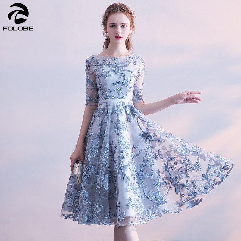 FOLOBE élégant gris femmes genou longueur robes floral solide robes Sexy robe de soirée femme vestidos 2019