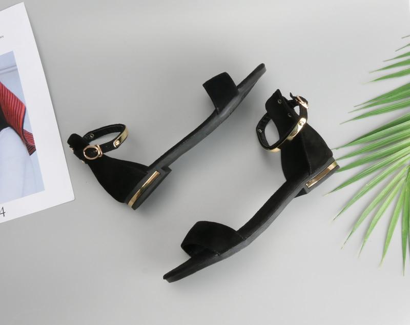 HTB1RDVJepmWBuNjSspdq6zugXXaS Meotina Genuine Leather Women Sandals Chunky Heels Summer Shoes 2019 Peep Toe Suede Shoes Black Buckle Bling Big Size 33-46 11