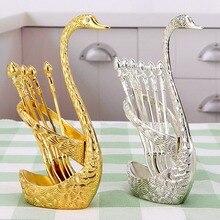 Лебедь из нержавеющей стали База держатель с 3 Десертные Вилки кофейные ложки набор салат десерт вилки ложка кофе Торт Инструменты посуда