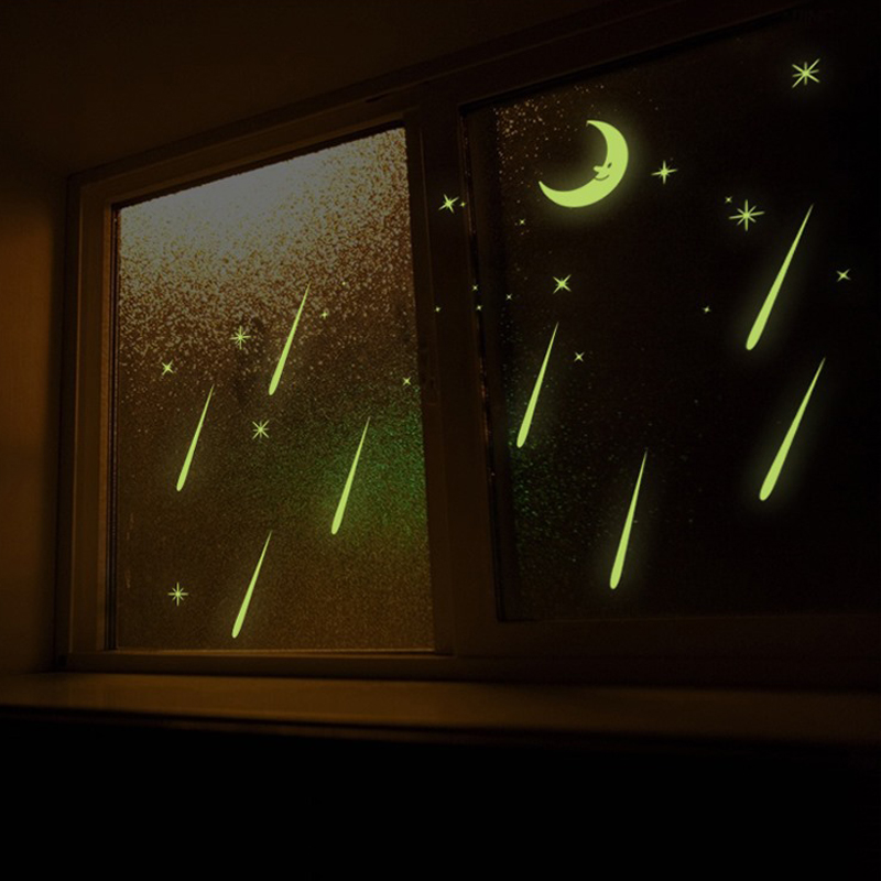 2pcs/lot Creative DIY Glow In The Dark Luminous Wall Stickers Meteor Shower Cat Ship Decor For Kids Rooms Baby Bedroom Decal