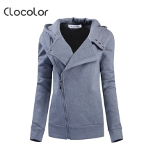 Clocolor women coat  Solid Color Hooded Long Sleeve Women's Hoodie Zipper Sweatshirts femaleFall Winter women coat