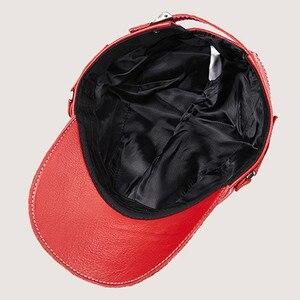 Image 5 - Chapéu masculino de couro quente bonés de beisebol flat top chapéus inverno ajustável tamanho da cabeça snapback osso pai couro língua boné unisex