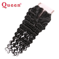 Queen Hair Deep Wave Brazilian Human Hair Weave Lace Closure With Baby Hair Can Mix 3 Bundles For Full Head Remy Hair Closures