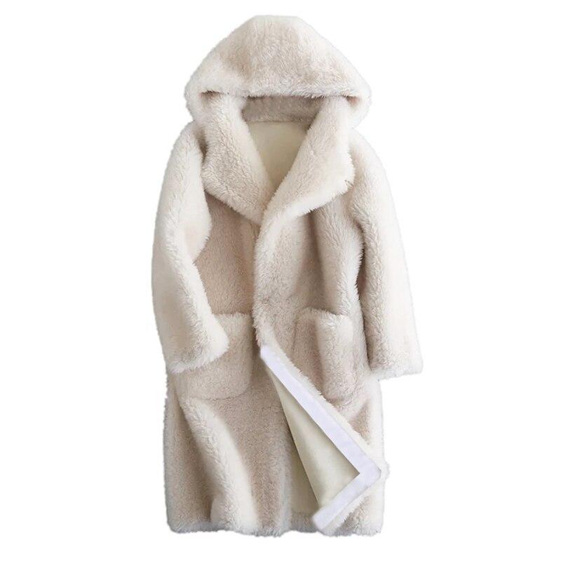Овечья шерсть меха куртка осень-зима женская одежда 2018 натуральный мех пальто шерстяная куртка с капюшоном в Корейском стиле элегантные бе...
