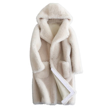 Sheep Shearling Fur Autumn Winter Jacket Women Clothes 2018 Real Fur Coat Wool Jacket Hooded Korean Elegant White Tops ZT607