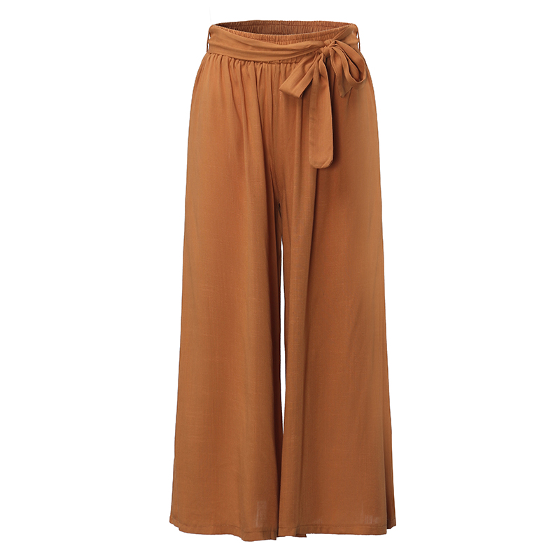 2019 ZANZEA Women   Wide     Leg     Pants   Vintage Casual Loose Elastic Waist Trousers Cotton Oversized Solid Long   Pants   Plus Size L-5XL