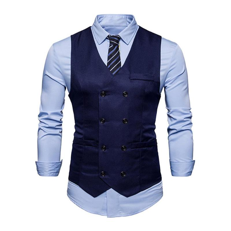 Fashion Double Breasted cotton Suit Vest Men 2018 Spring New Sleeveless Vest Waistcoat Mens Slim Fit Wedding Business Vests
