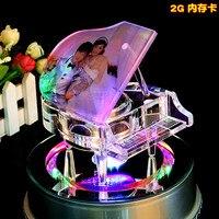 Crystal Piano Fashion Crystal Glass Led Lighting Base Show Pretty Beautiful Lamp Rotating Rotate Base Stand